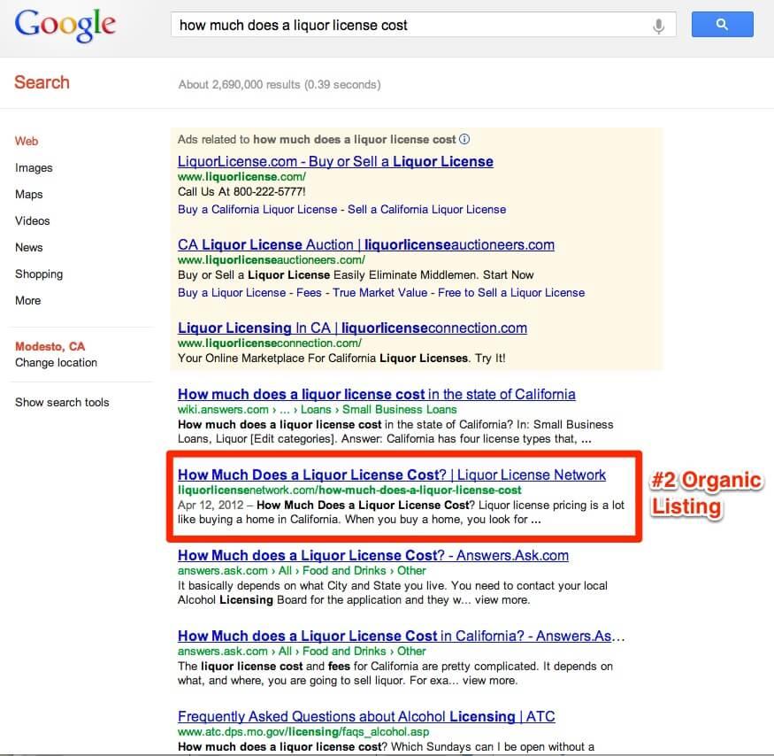 website for liquor license network - hill media group - modesto web