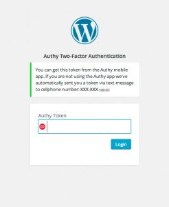 Authy Two-Factor Authentication Token Login Form